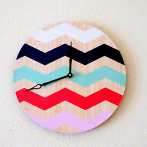 Bold chevron vinyl record wall clock