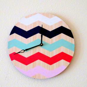 Bold chevron vinyl record wall clock